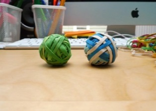 A rubber band ball can also be an eraser!