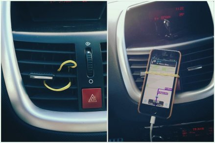 Use a rubber band to hold your phone up
